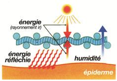 Schéma de lo'enrgie   déployée par le tissus outlast